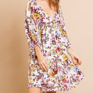 umgee floral print v neck babydoll dress
